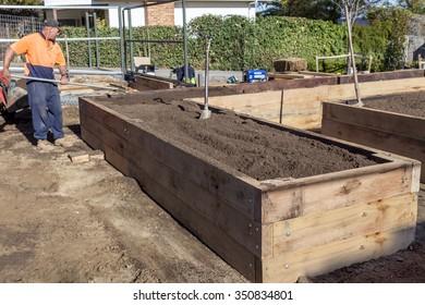 Vegetable garden bed construction