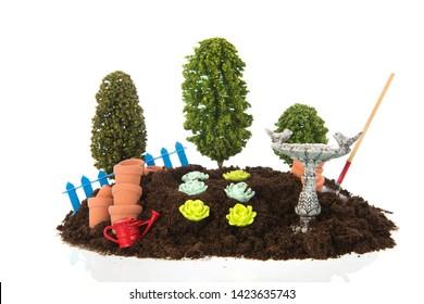 Vegetable garden isolated on white background
