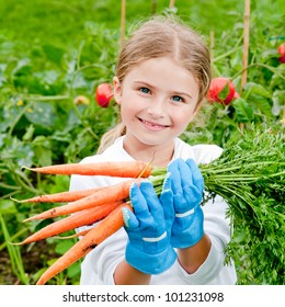 Vegetable garden - lovely gardener with bunch of carrots
