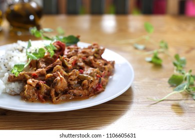 Vegetable goulash served with rice.