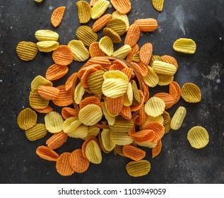 Vegetable healthy crisps, veggie chips made of broccoli, beetroot, tomatoes, spinach and carrots with sea salt