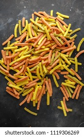 Vegetable healthy crisps, veggie chips, straws, puffs made of broccoli, beetroot, tomatoes, spinach and carrots with sea salt