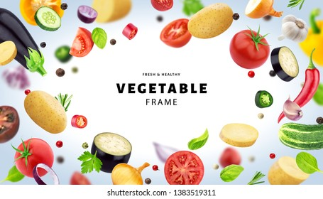 Vegetable isolated on white background, frame made of different flying vegetables, herbs and spices, with copy space, fresh and healthy food template
