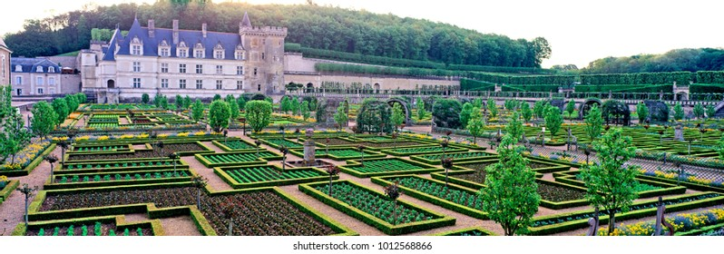 THE VEGETABLE JARDEN AND CHATEAU AT VILLANDRY, LOIRE, FRANCE. JUNE 2010.  Panoramic view of the remarkable ornamental vegetable garden and the Chateau one of France's greatest