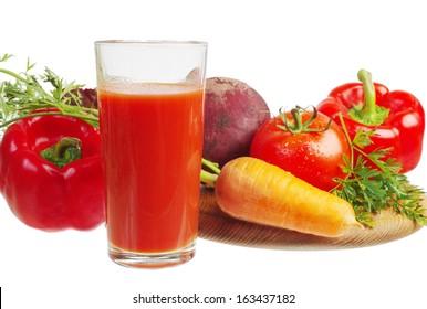 Vegetable juice. White background