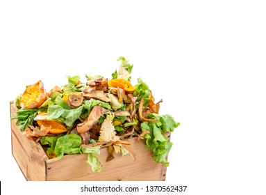 Vegetable kitchen food waste in a re used wooden container for home composting white bacground