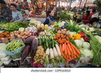 the vegetable market at the old market of Phsar chas in the city of Siem Reap in northwest of Cambodia.   Siem Reap, Cambodia, November 2018