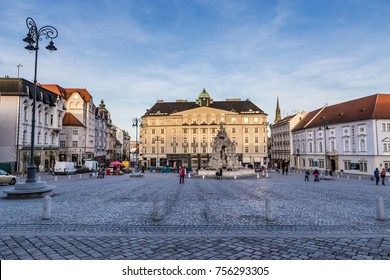 Vegetable Market And Parnas Fountain - Brno, Moravia, Czech Republic, Europe