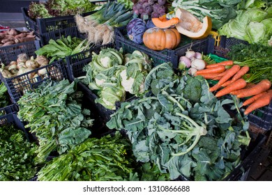 Vegetable market stall with a selection of permaculture local produce: cabbage, lettuce, herbs, carrots, pumpkin, cauliflower, leek, celeriac, celery, and other greens.