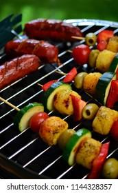 Vegetable and meat skewers in a herb marinade