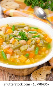 vegetable minestrone with white beans and toast vertical