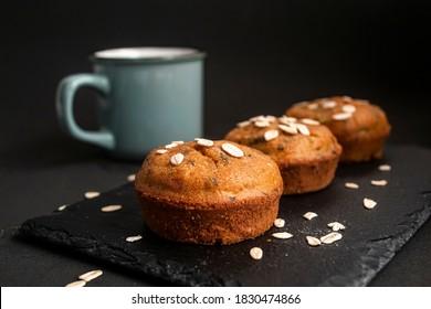 Vegetable muffin on dark background