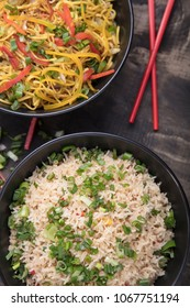 Vegetable noodles and fried rice combination