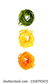 vegetable noodles. spiralized zucchini, sweet potatoes and pumpkin. The concept of healthy eating. isolated on white background