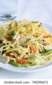 Vegetable noodles in white dish