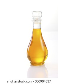 Vegetable oil bottle isolated on white background