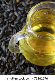 vegetable oil from sunflower seeds in a jar