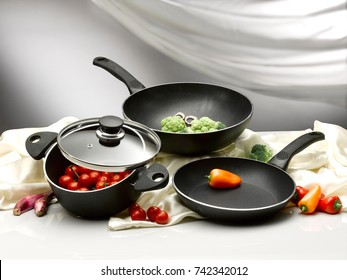vegetable in pans and pot