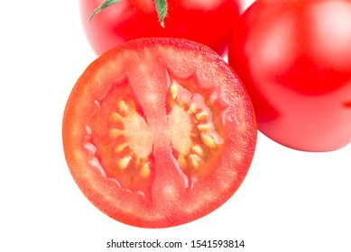 Vegetable pattern of red tomatoes on white background. Flat lay, top view. Food background.