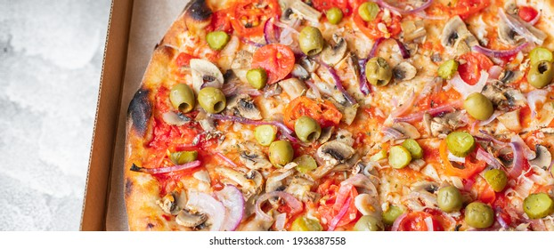 vegetable pizza no meat no cheese pizza  snack savory pie fast food healthy meal top view copy space food background rustic vegan or vegetarian