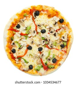 Vegetable Pizza on White Background. Top View