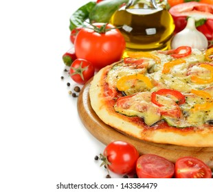 Vegetable pizza on a white background