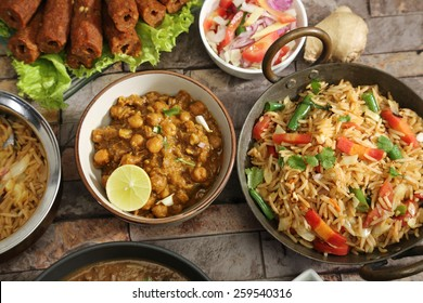 Vegetable Pulao with Chana Masala, Indian Food
