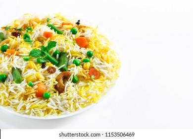 Vegetable Pulao / Mixed  Veg Biryani isolated on white