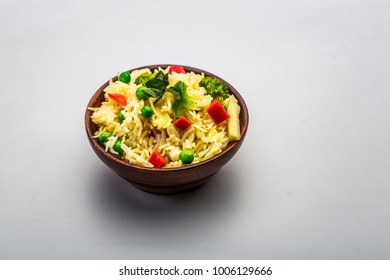 vegetable rice or cooked rice or veg biryani or inidian meal