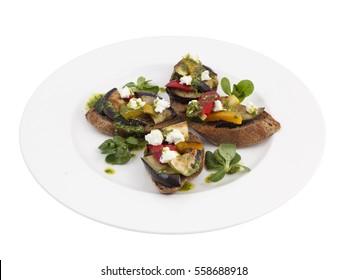 Vegetable Roasted Eggplant Squash Mozzarella Cheese Bruschetta Italian Antipasto Topped Appetizer Snack Dish Set