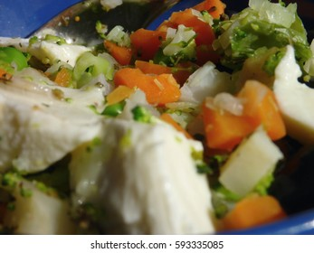 vegetable salad with black olives and mozzarella cheese