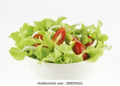 vegetable salad bowl on white background
