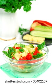 vegetable salad with cheese, cucumber,  pepper,  parsley