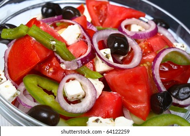 Vegetable salad with cheese and olives
