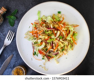 vegetable salad (Chinese cabbage, carrot, onion, lettuce, mix salad, pumpkin) menu concept. food background. top view. copy space