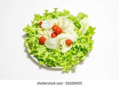 vegetable salad in dish isolated in white background
