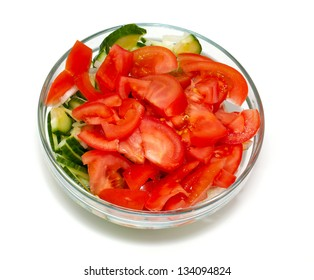 vegetable salad in a glass bowl isolated on white background