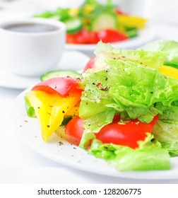 vegetable salad with lettuce, cucumber and paprika