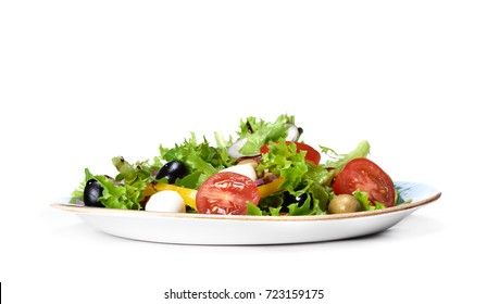 vegetable salad with mozzarella isolated on white background