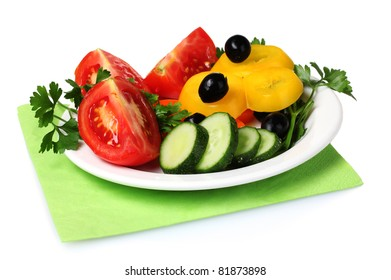 vegetable salad on plate isolated on white