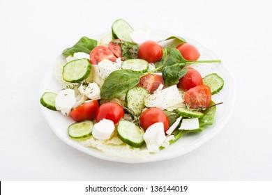 vegetable salad on white
