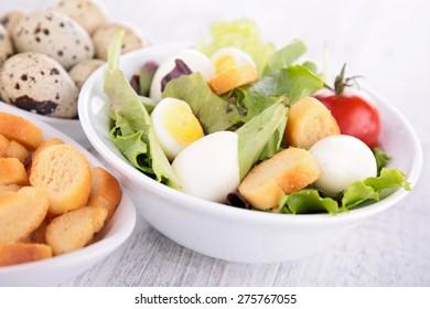 vegetable salad with quail egg