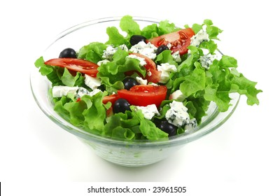vegetable salad and roquefort cheese over white
