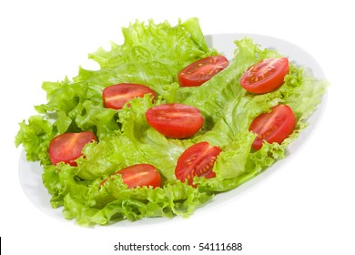 vegetable salad with tomato on white background
