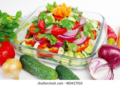 Vegetable salad and vegetables.Vegetarian food.