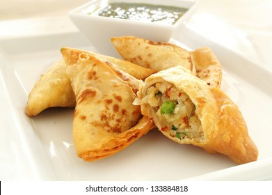 vegetable samosas with riata dip