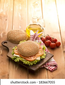vegetable sandwich on the wooden table