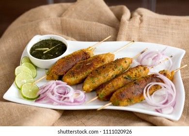 Vegetable Seekh Kabab is a tasty and delicious Indian starter made from mixed vegetable mixtures shaped on skewers and grilled.