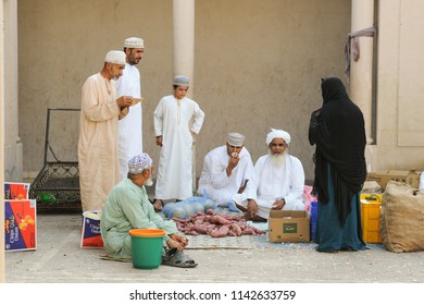 Vegetable seller at Niswa maket, Oman June 2015