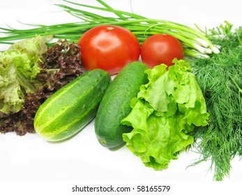 vegetable set for salad with tomato cucumber fennel lettuce